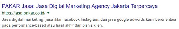 contoh meta title, meta description di halaman hasil pencarian