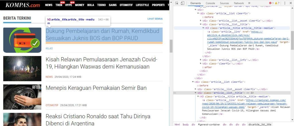 Contoh mode inspect browser ketika diterapkan pada situs kompas.com