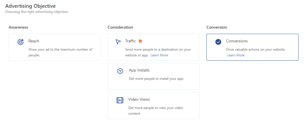 Pilihan objective campaign di TikTok Ads yang muncul di dashboard TikTok Ads.